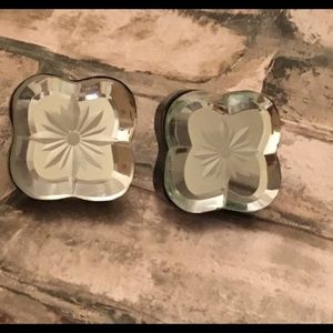 Other - 2-DRAWER KNOBS Pull Floral Mirror Clear Crystal